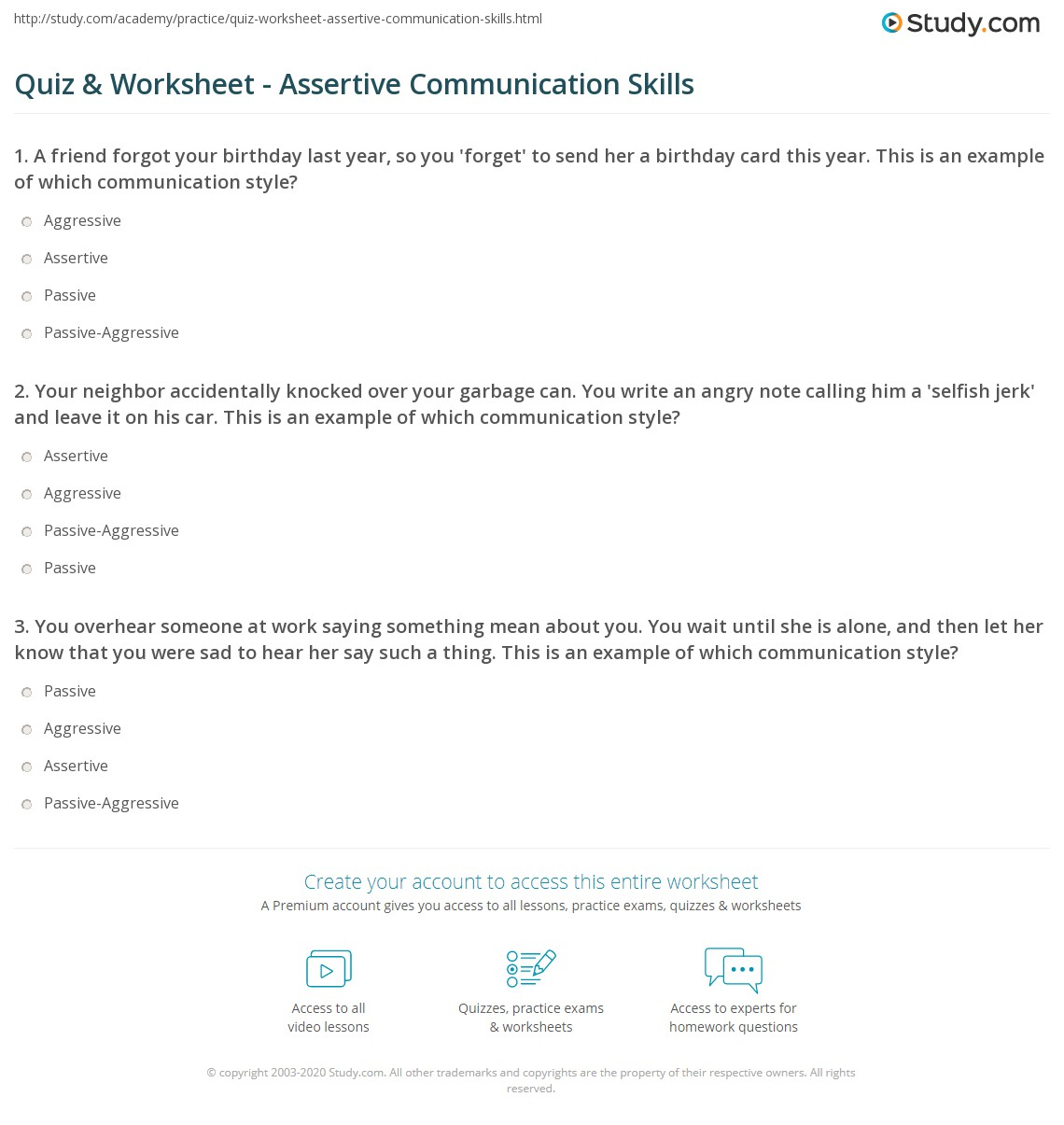 Communication Styles Worksheet