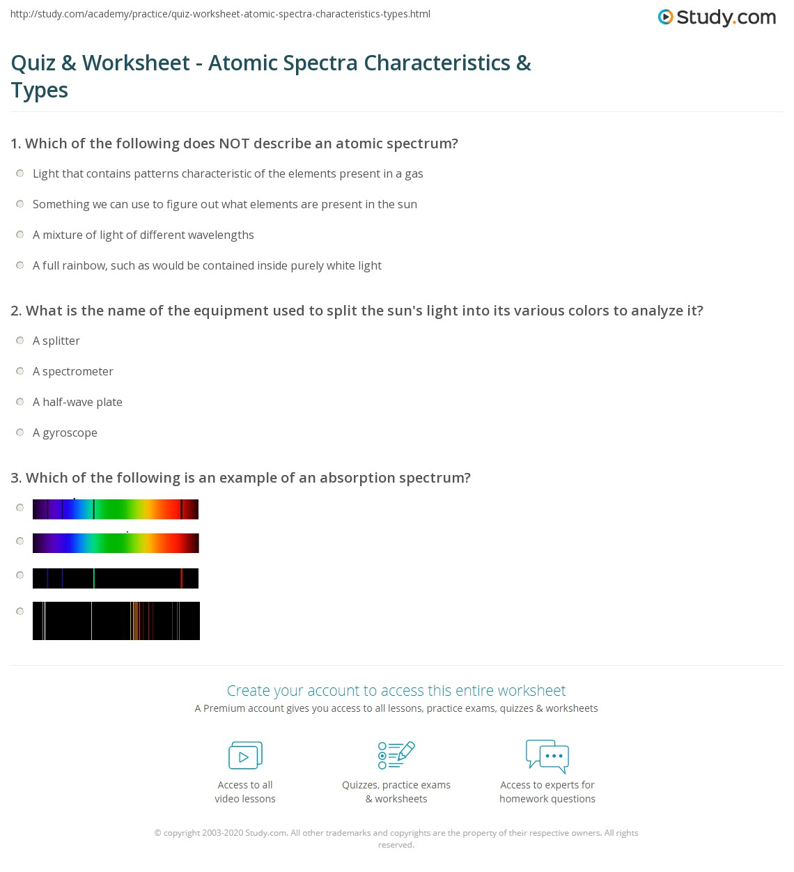 Atomic Spectra Worksheet Answers