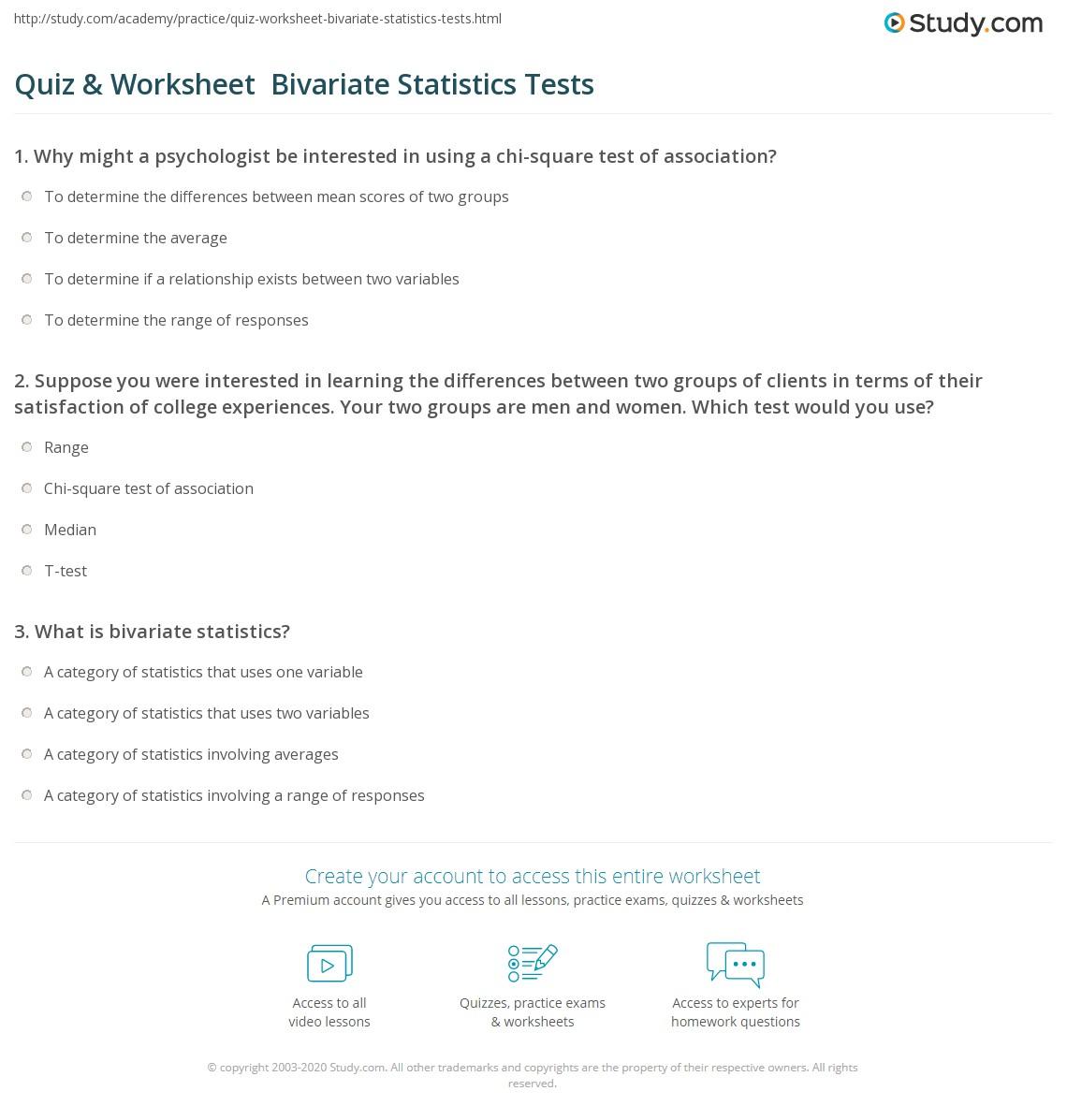 Quiz Amp Worksheet Bivariate Statistics Tests