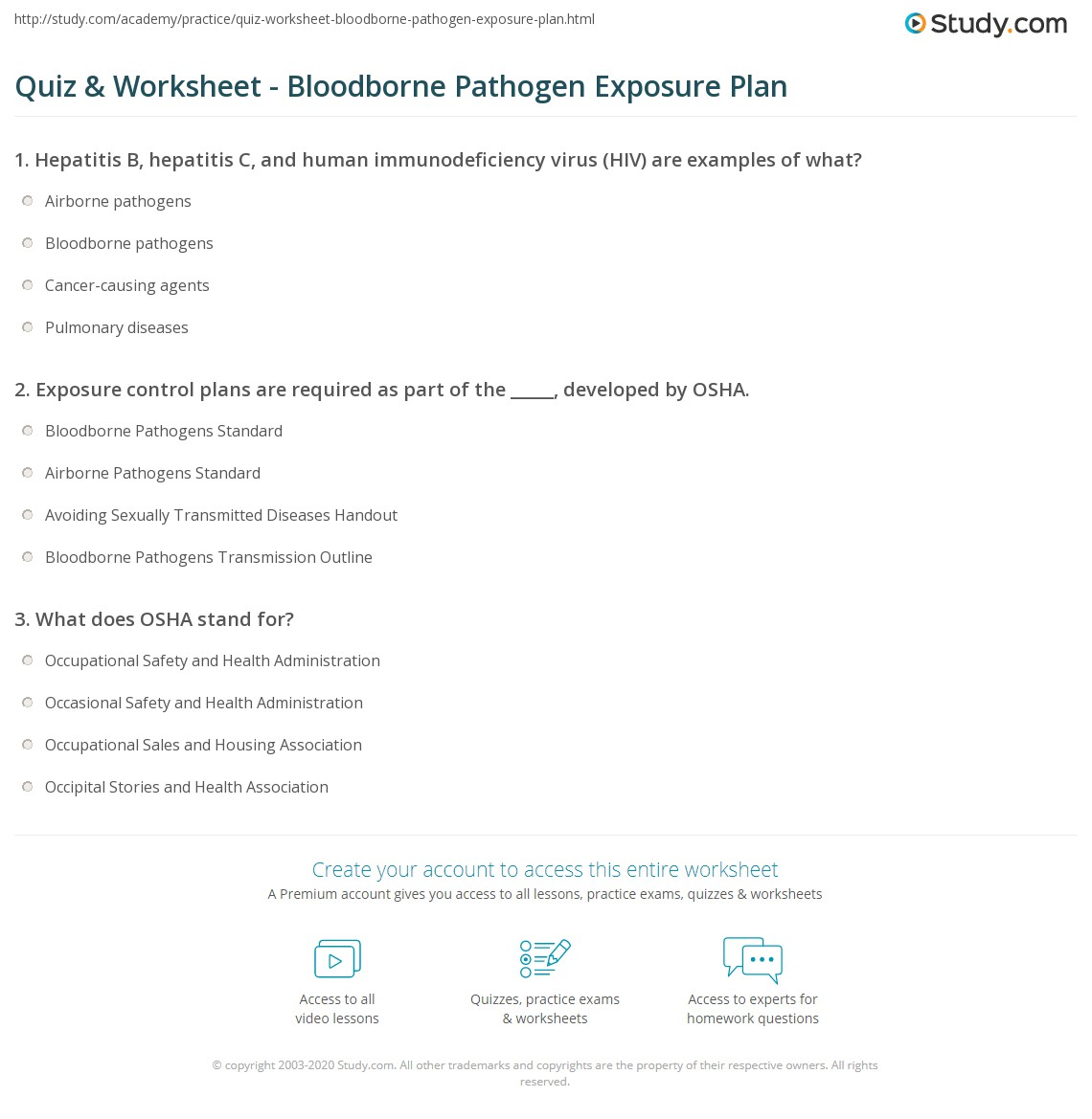 Exposure Worksheet