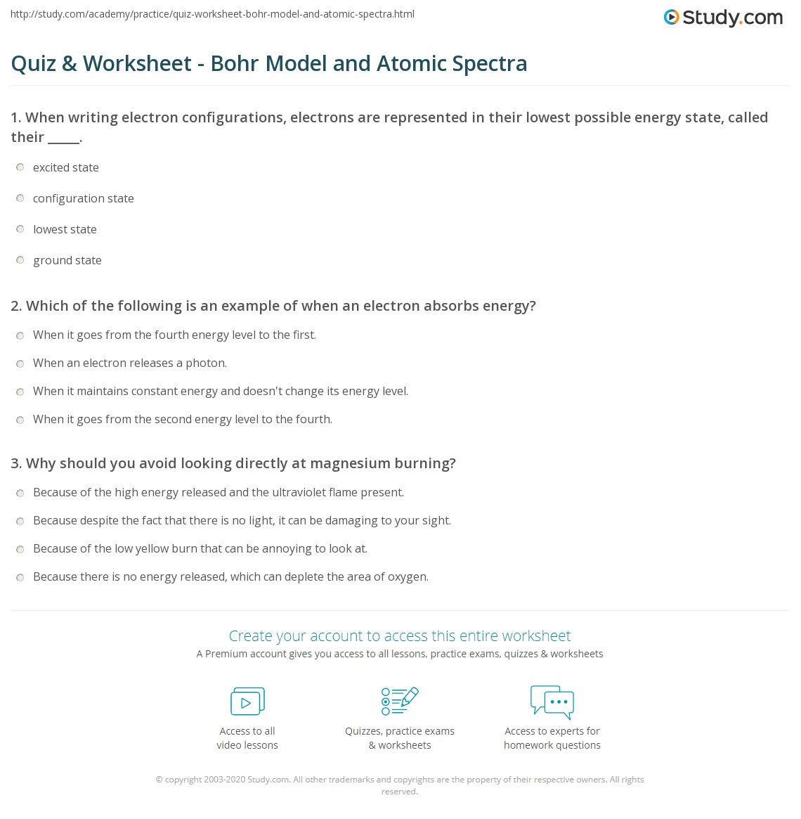 31 Bohr Atomic Models Questions Worksheet Answers