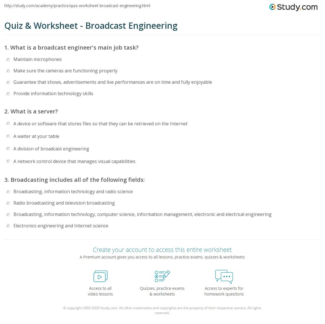 quiz amp worksheet broadcast engineering study com