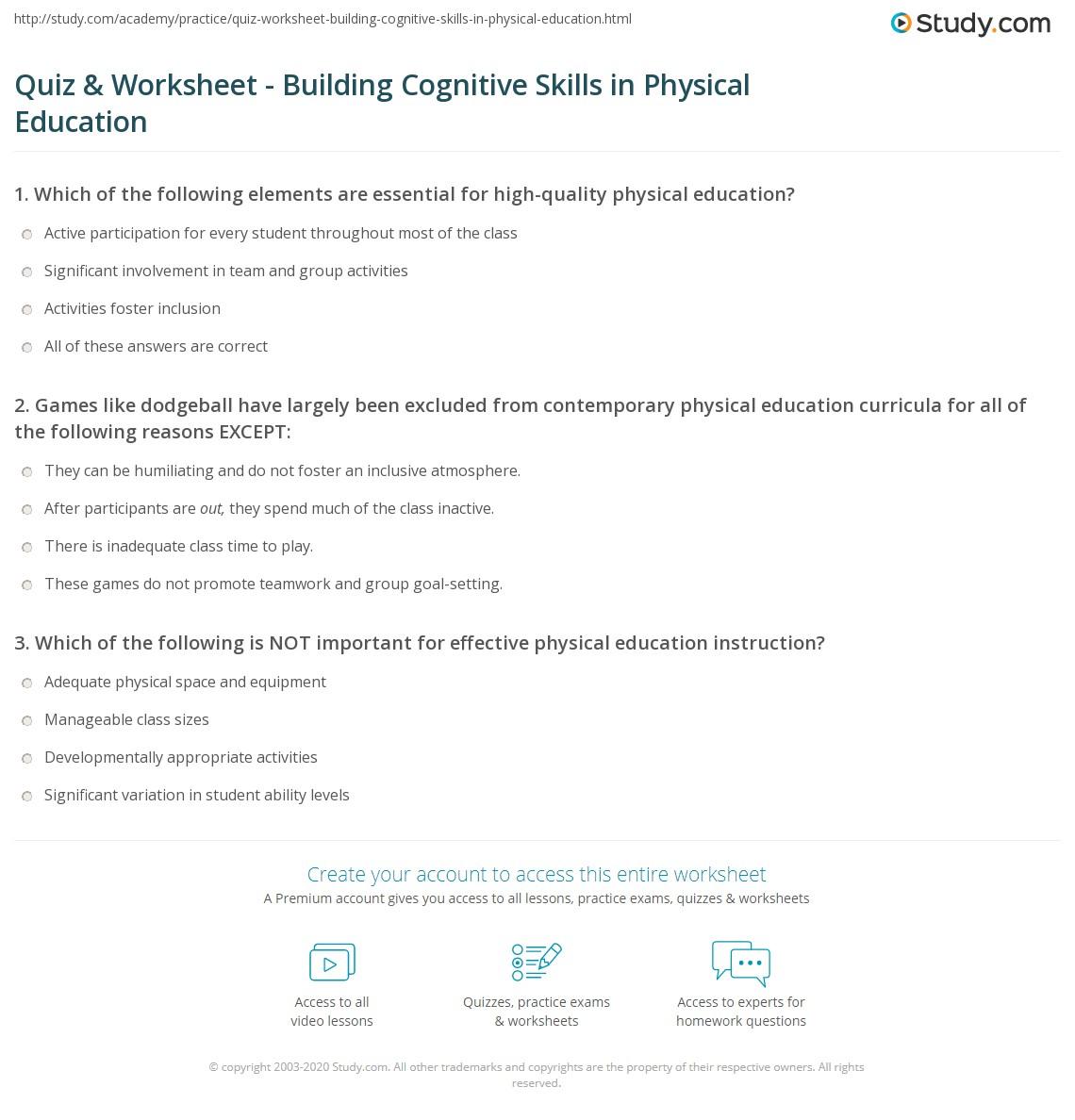 Cognitive Skills Worksheets Students