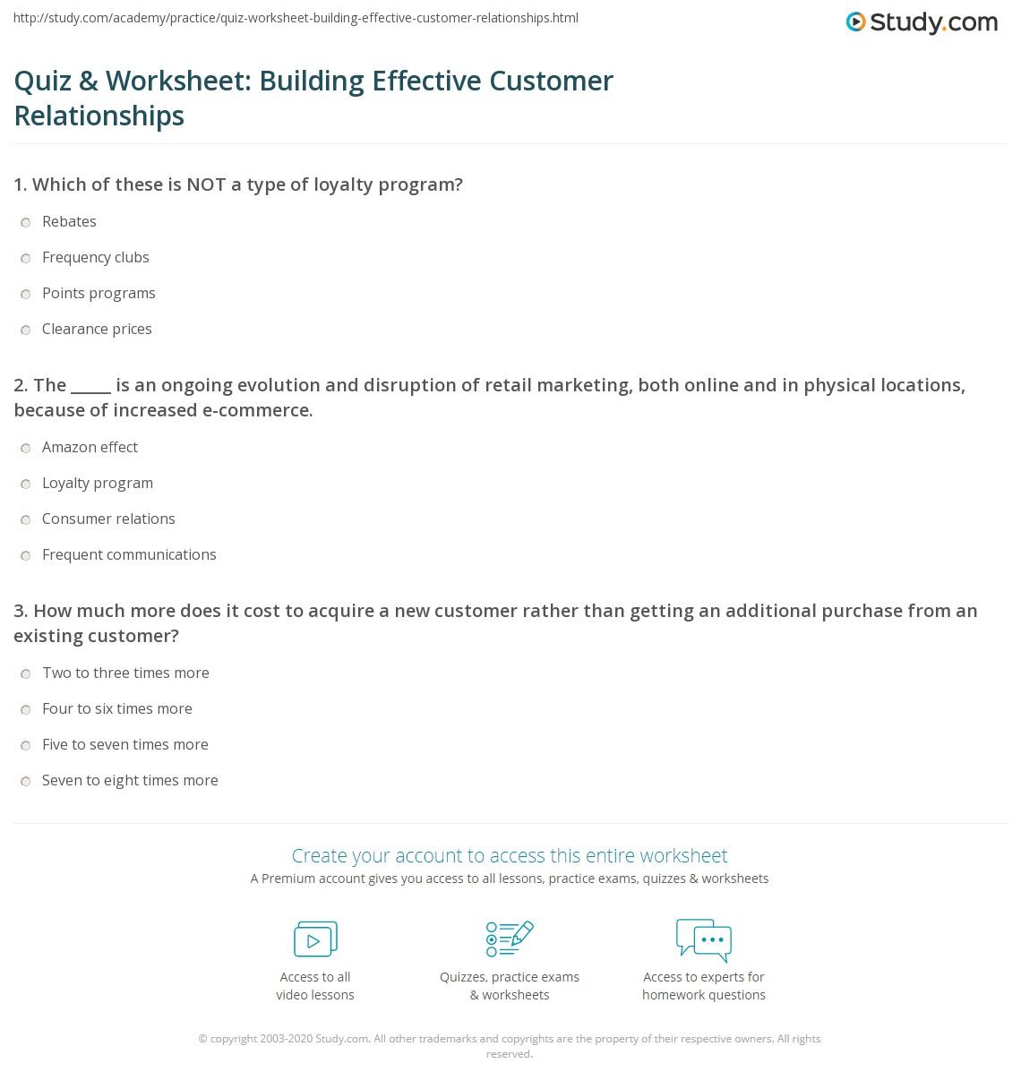 Quiz Amp Worksheet Building Effective Customer
