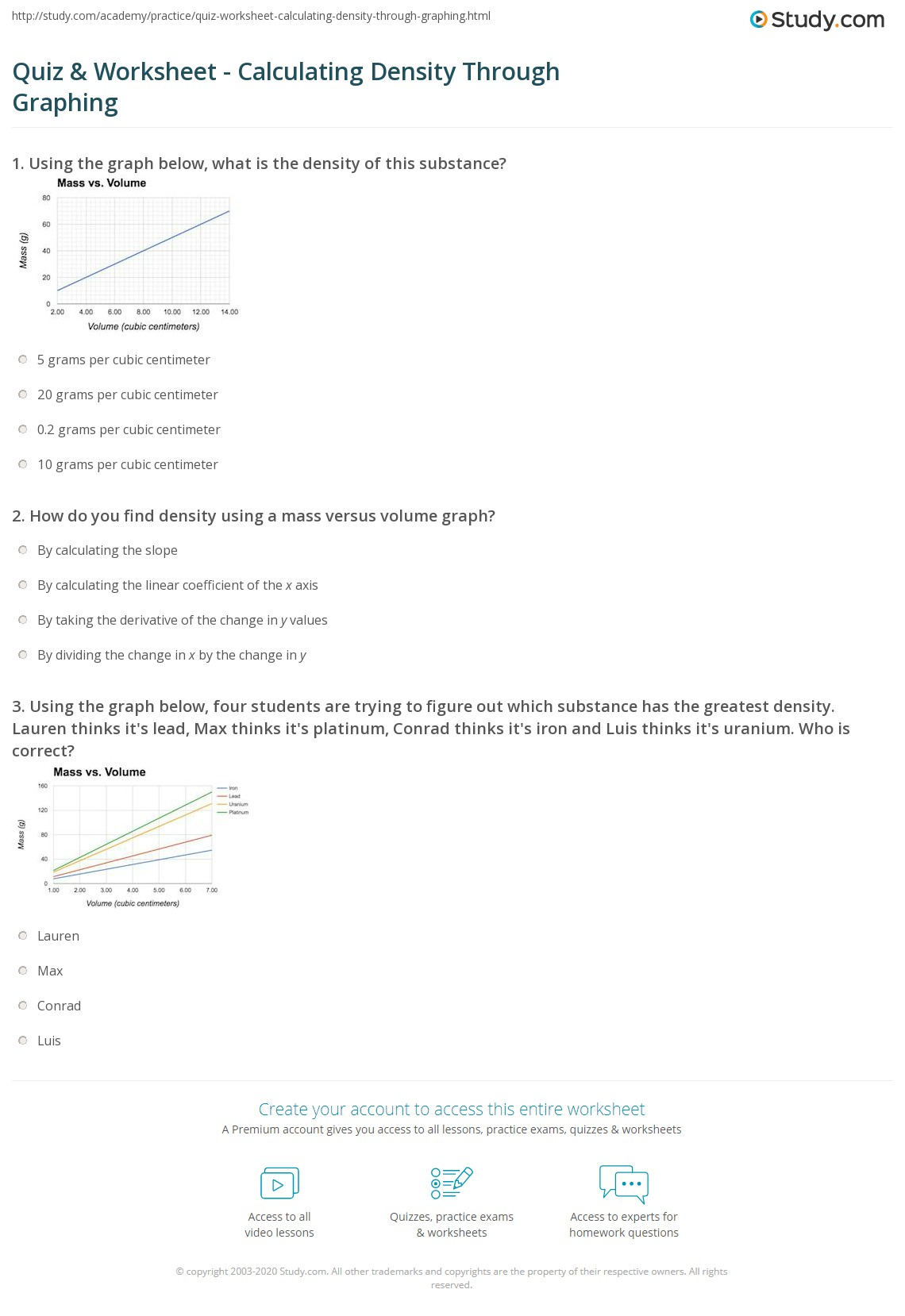 Density Graphs Worksheet