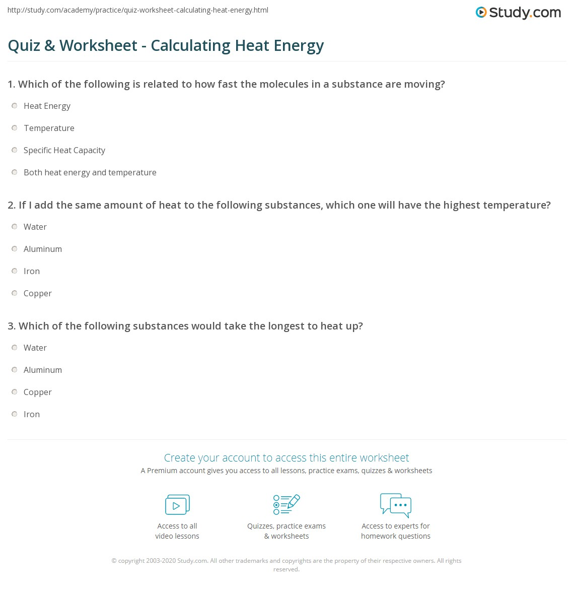 Energy Calculations Worksheet Worksheets Tutsstar