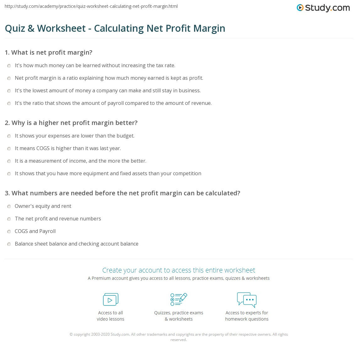 Net Profit Margin Equation