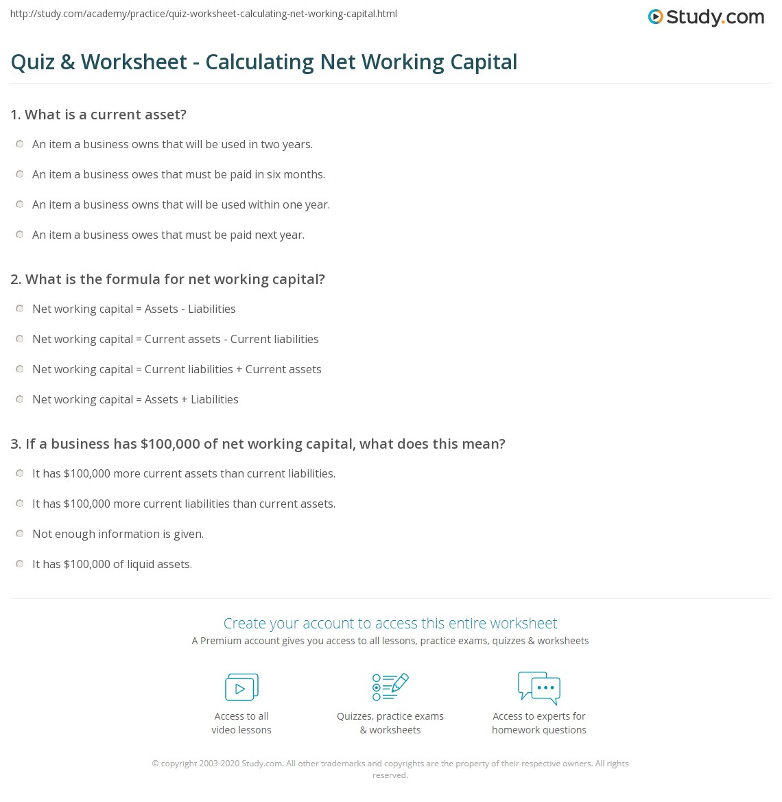 Working Capital Equation Example