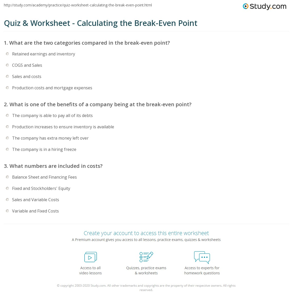 Amazing A Level Business Break Even Worksheet Answers By