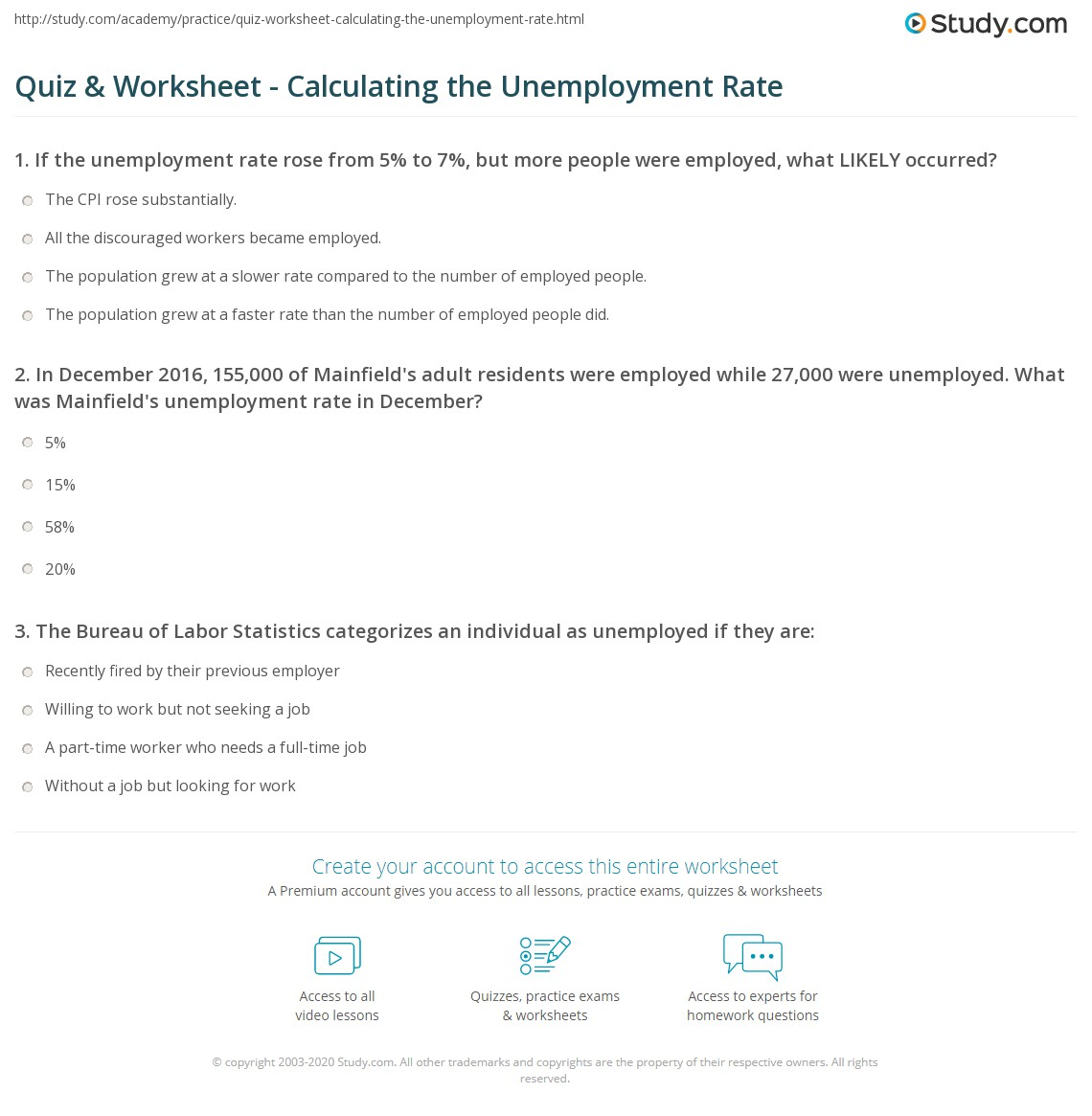 Worksheet On Unemployment