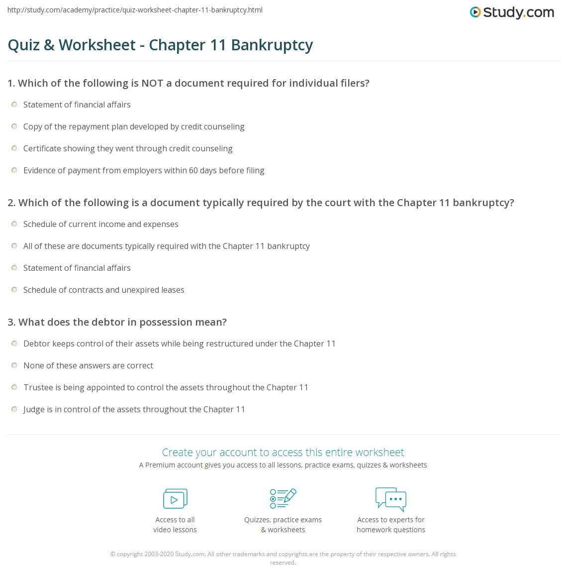 Quiz Worksheet Chapter 11 Bankruptcy Study Com
