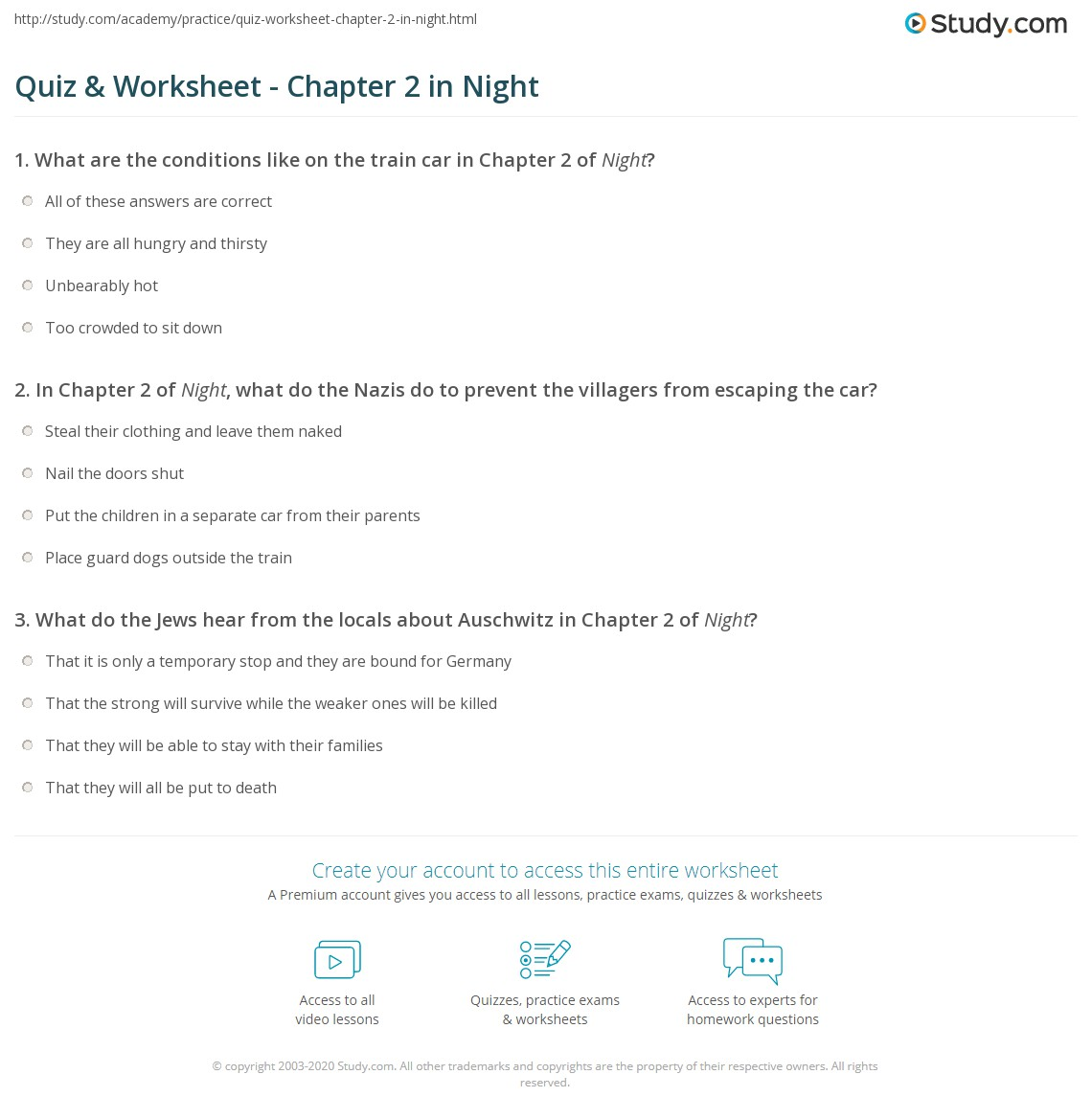 Printables Of Night Worksheet Answers