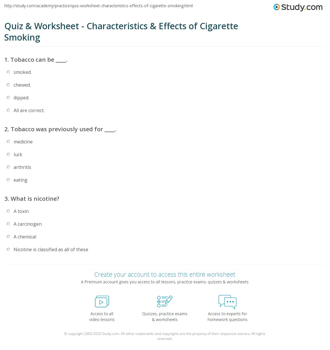 Cigarette Worksheet