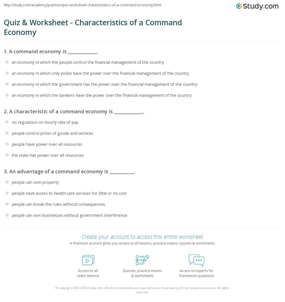 Characteristics Of Command Economy