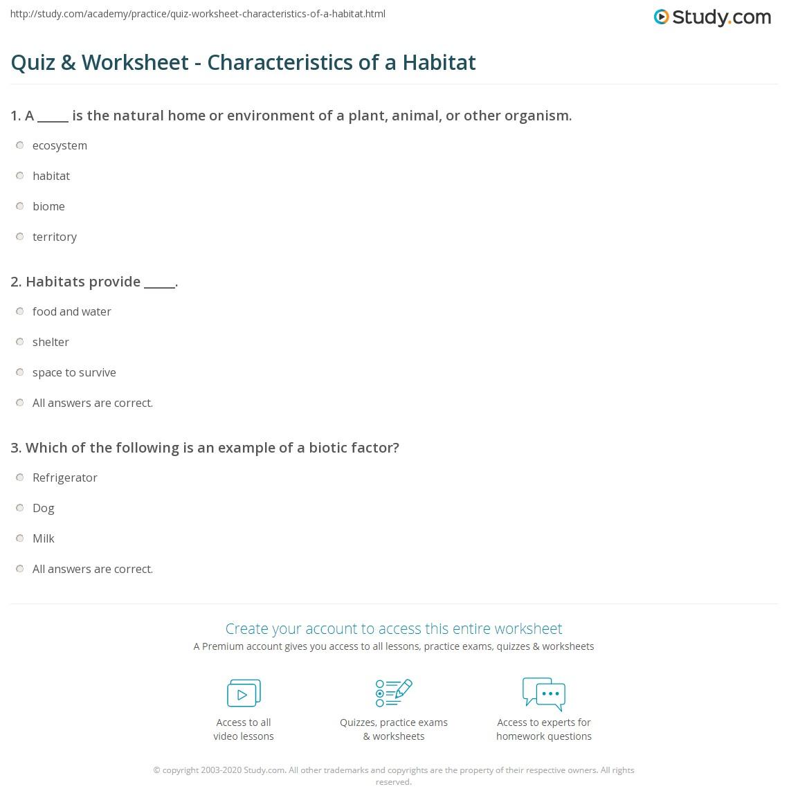 Quiz W Ksheet Ch R Cteristics Of H Bit T Study