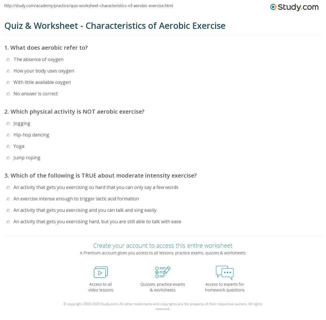 Quiz W Ksheet Ch R Cteristics Of Erobic Exercise Study