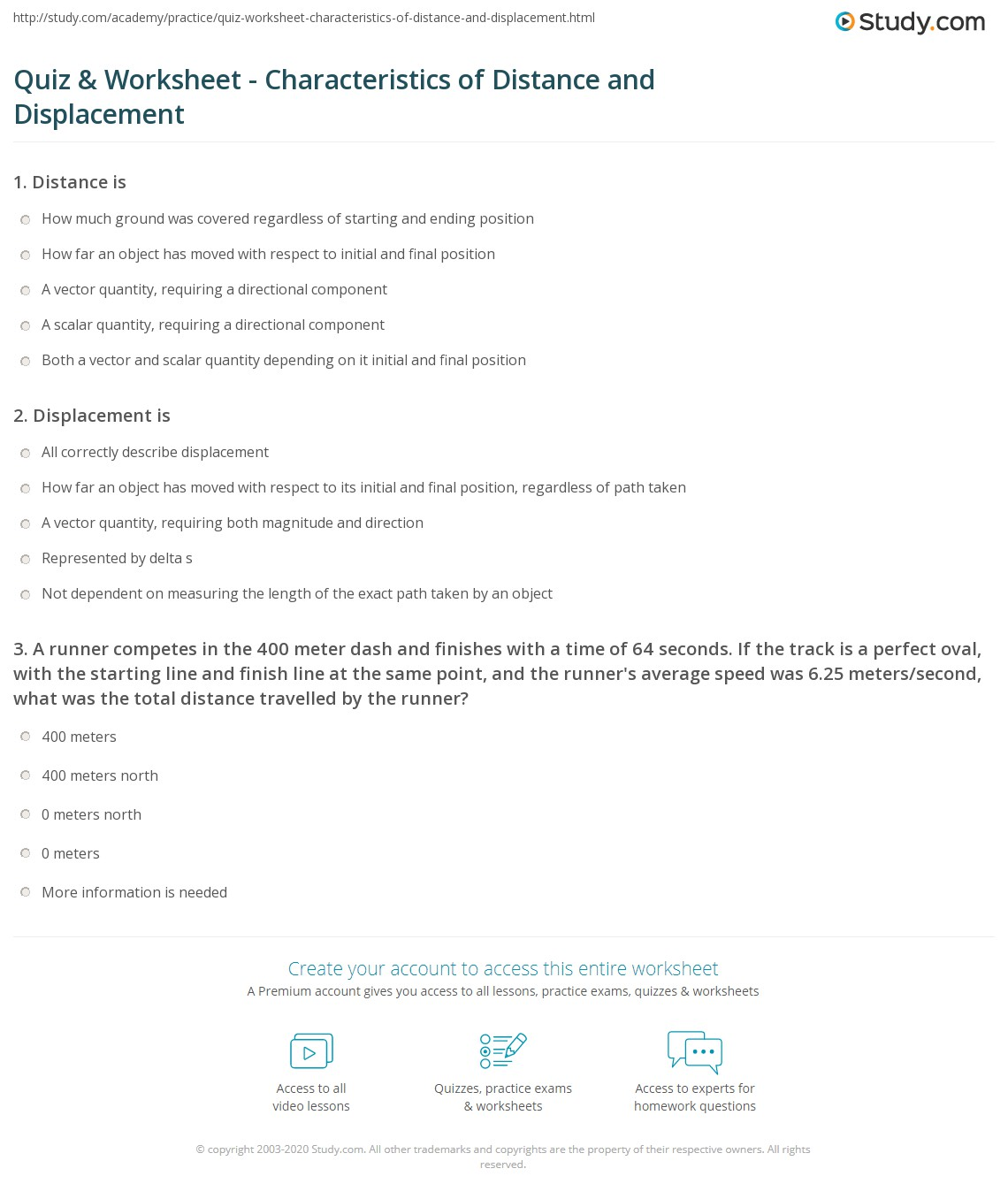 Distance And Displacement Worksheet Answers Download
