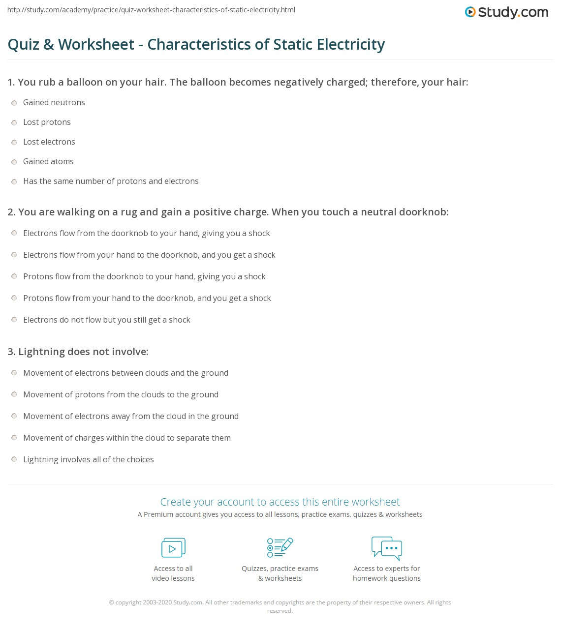 Worksheet On Static Electricity