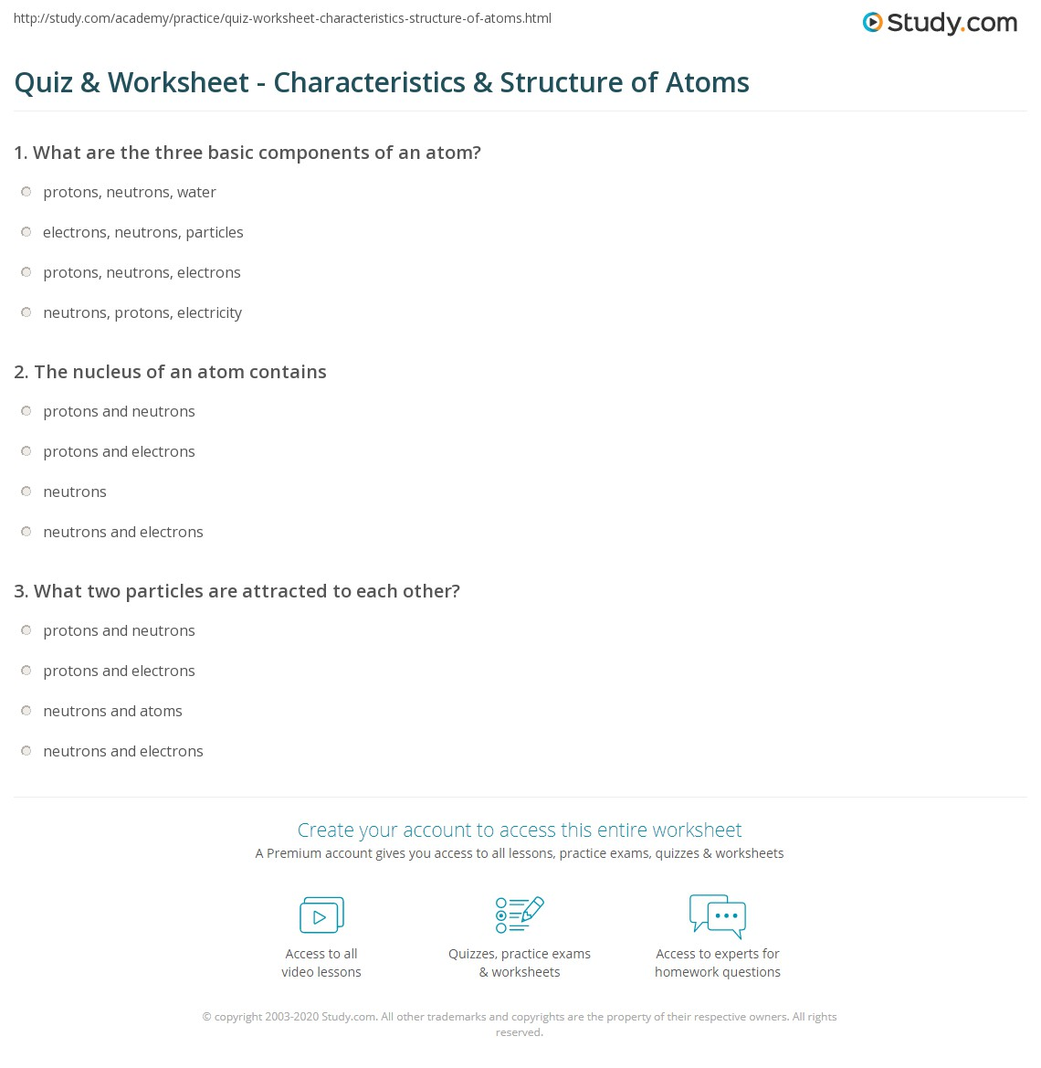Atomic Structure Worksheet Answers Unit 3