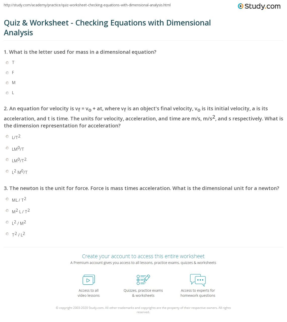 27 Dimensionalysis Worksheet Answers Physics
