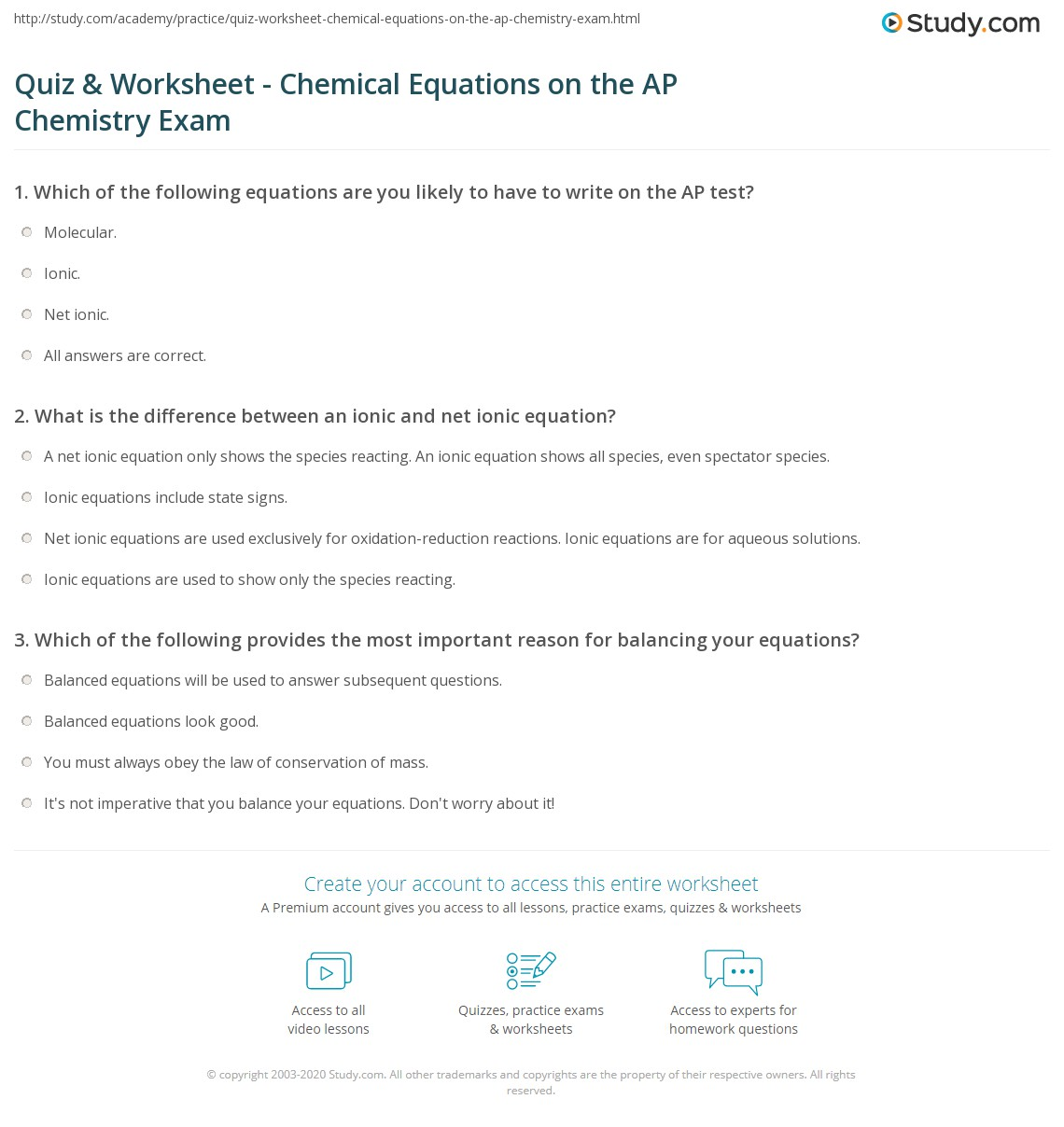 Quiz Section Balancing Chemical Equations Answer Key