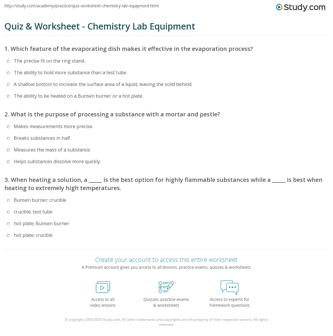 Worksheet Chemistry Lab Equipment Worksheet Grass Fedjp