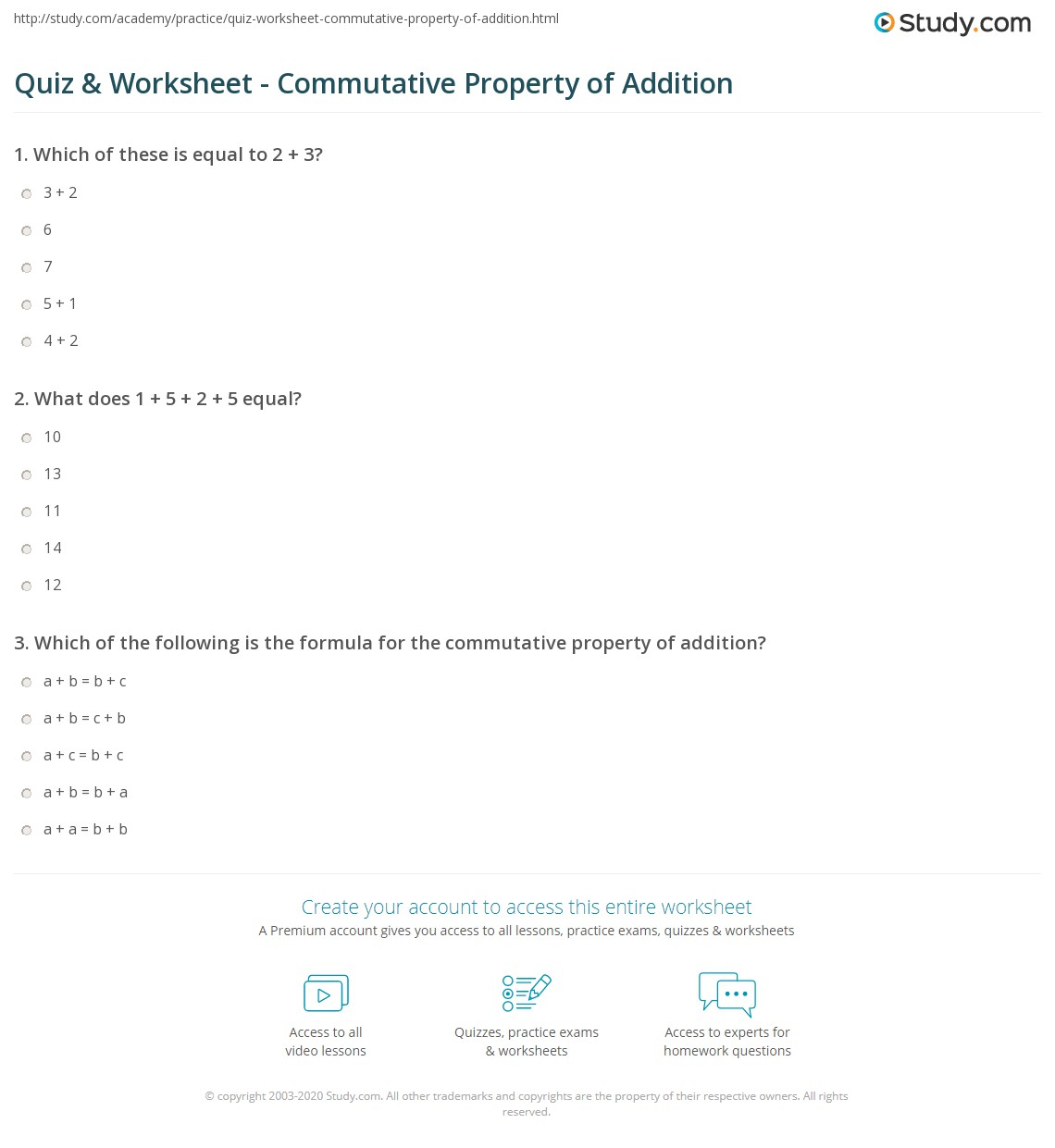 Commutative Property Of Addition Worksheets