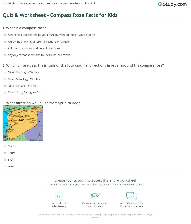 Printables Compass Rose Worksheets Freegamesfriv