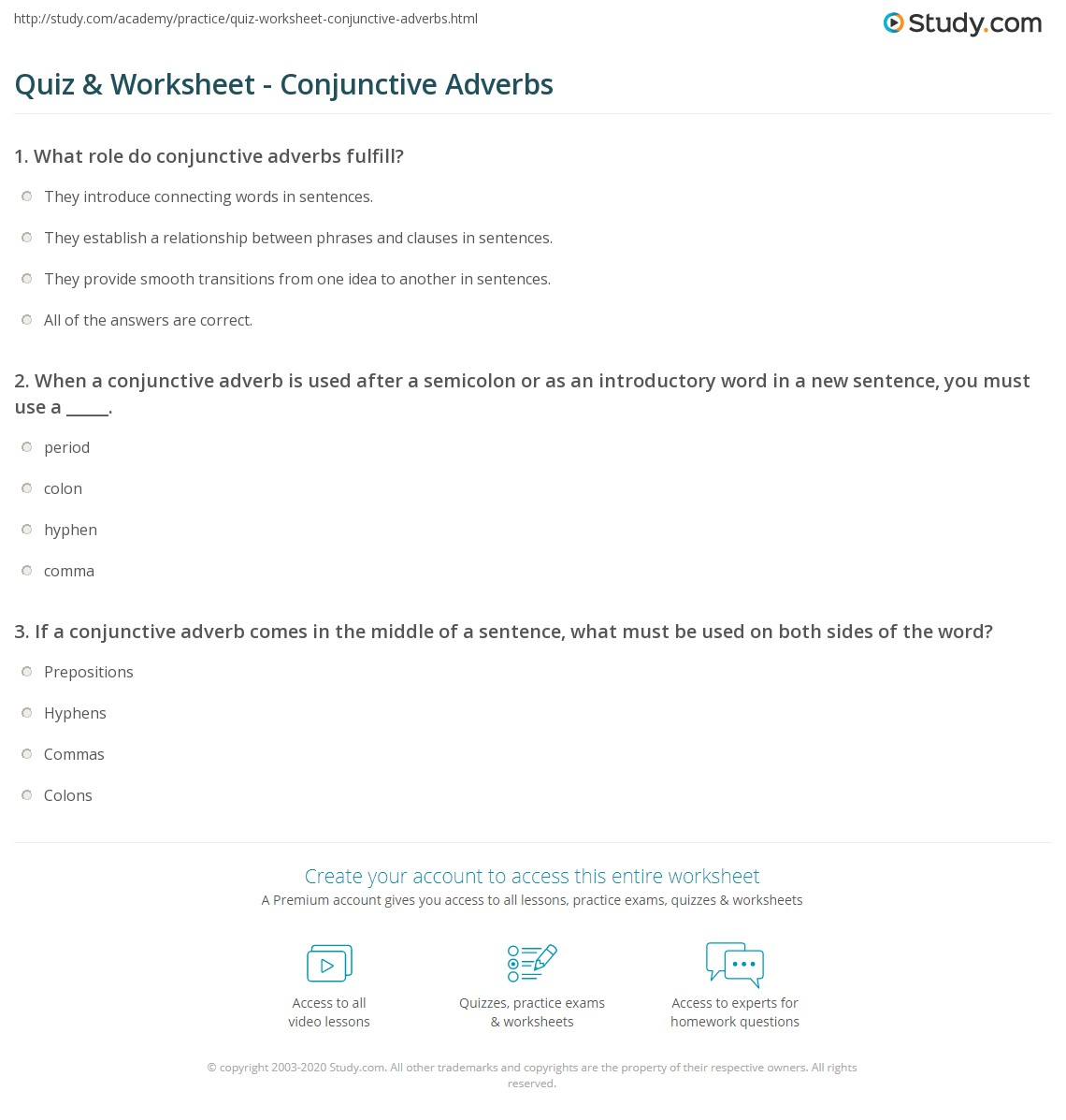 Conjunctive Adverb Worksheet
