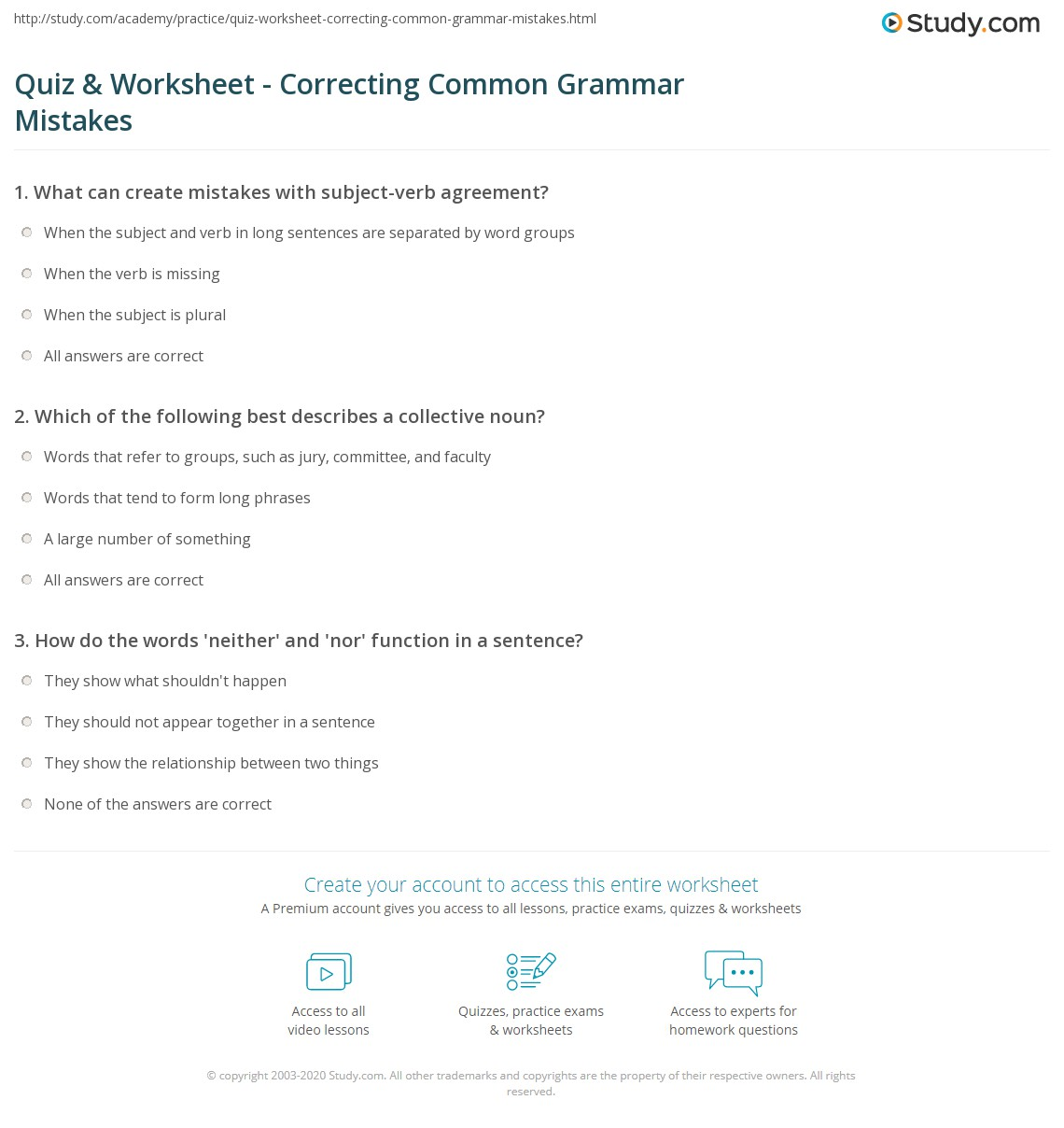 Worksheet Grammar Correction Worksheets Grass Fedjp