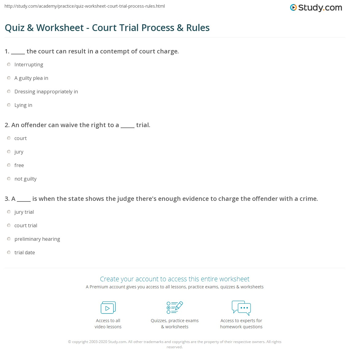 Court Worksheet