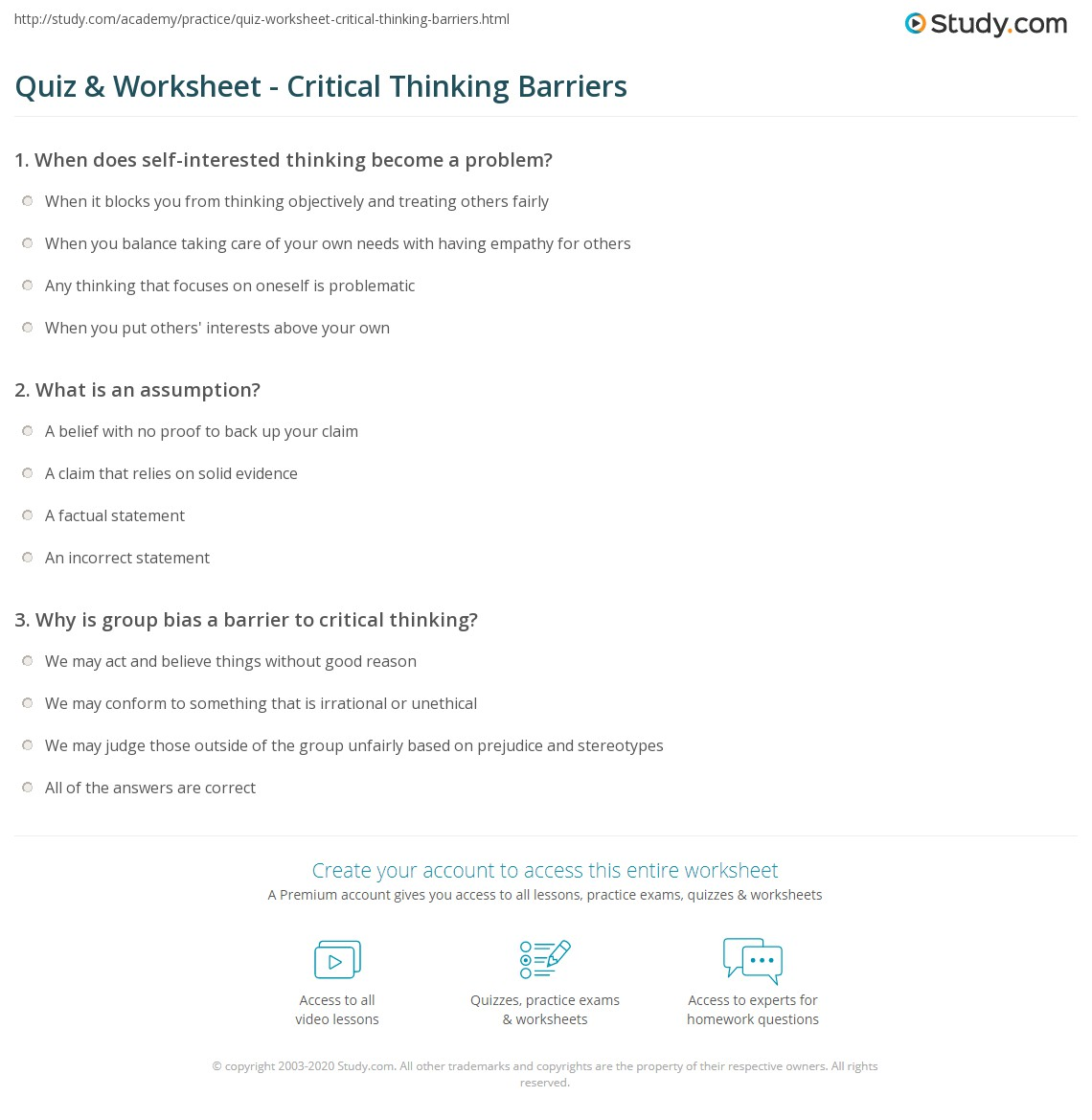 Critical Thinking Assessment Entrance