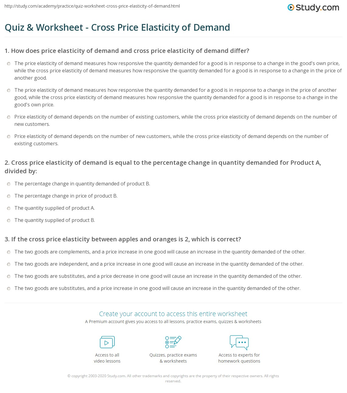 Quiz W Ksheet Cross Price El Sticity Of Dem Nd Study