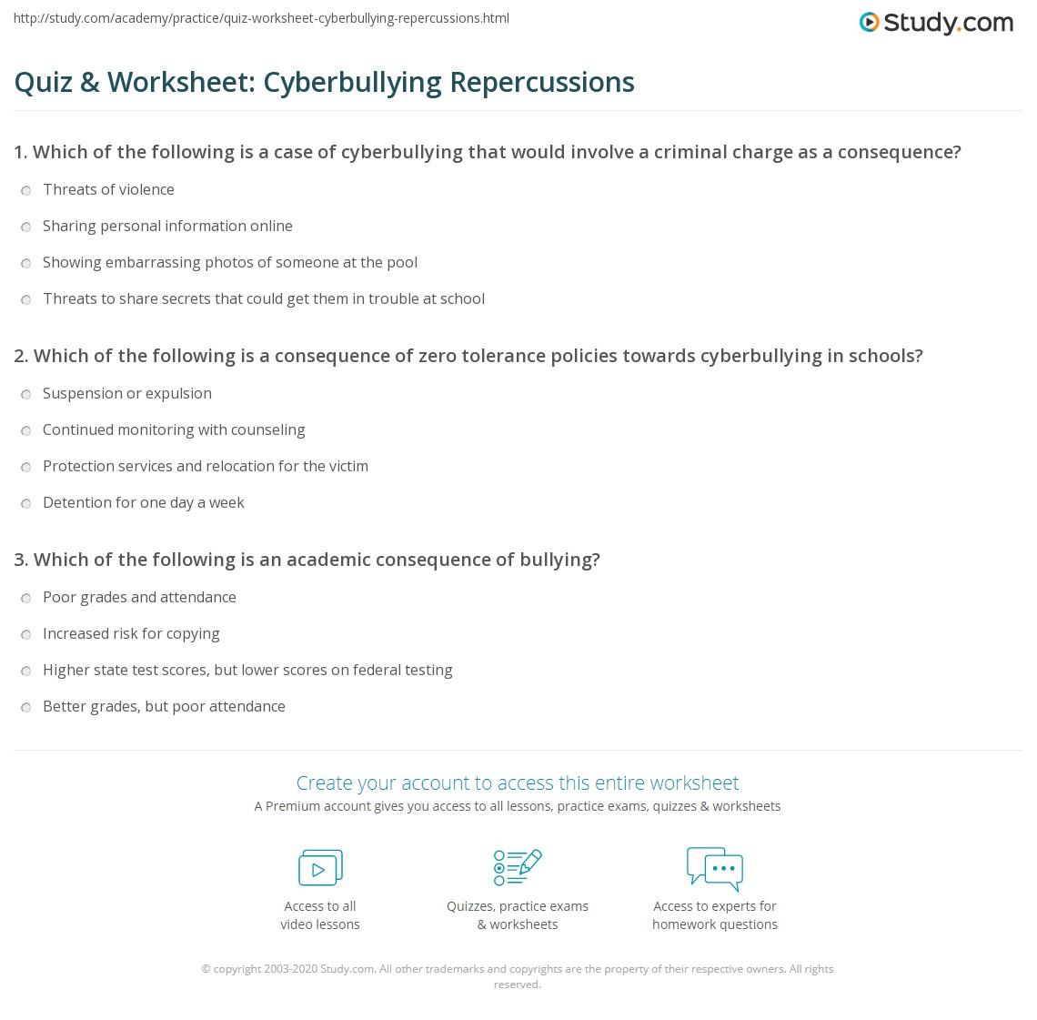 Quiz Amp Worksheet Cyberbullying Repercussions
