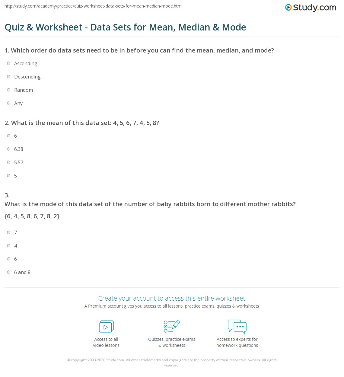 Snd Mean Median Mode Worksheet