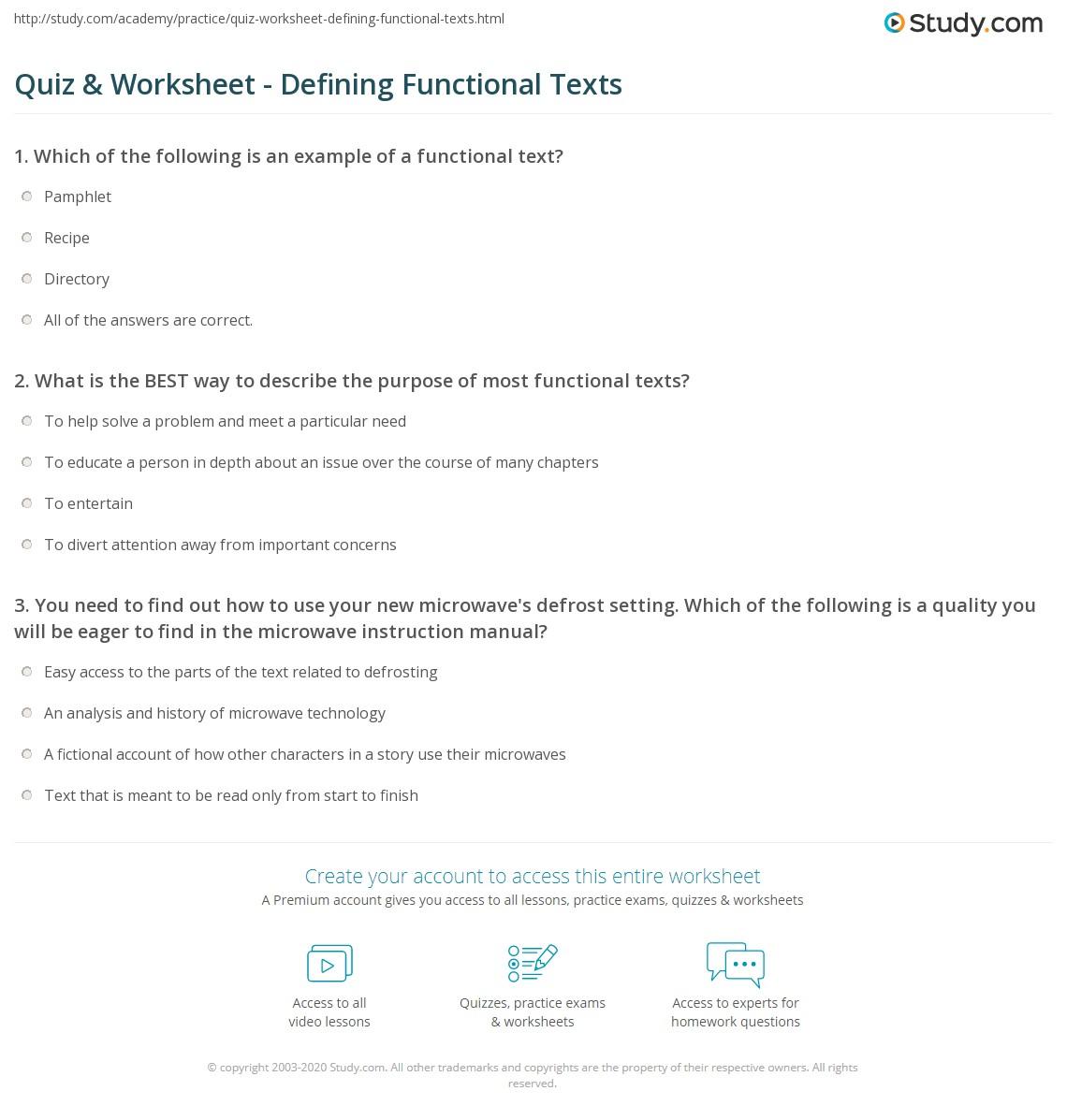 Quiz W Ksheet Def G Functi L Texts Study