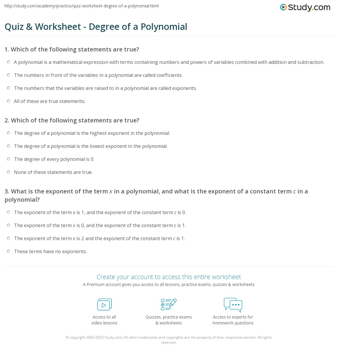 Quiz W Ksheet Degree Of Polynomi L Study