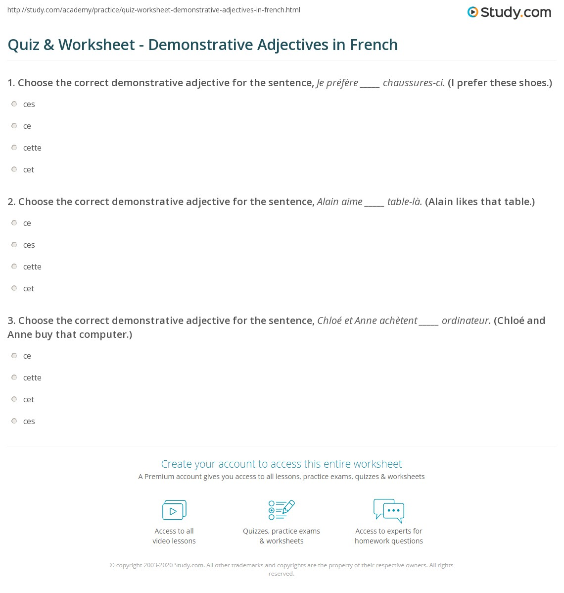 French Grammar Exercises For Grade 7