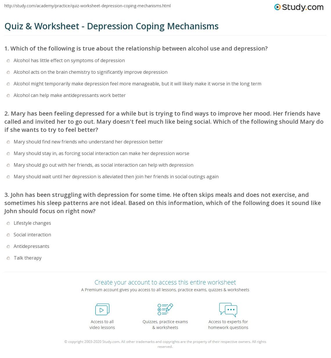 Coping Mechanisms Worksheet