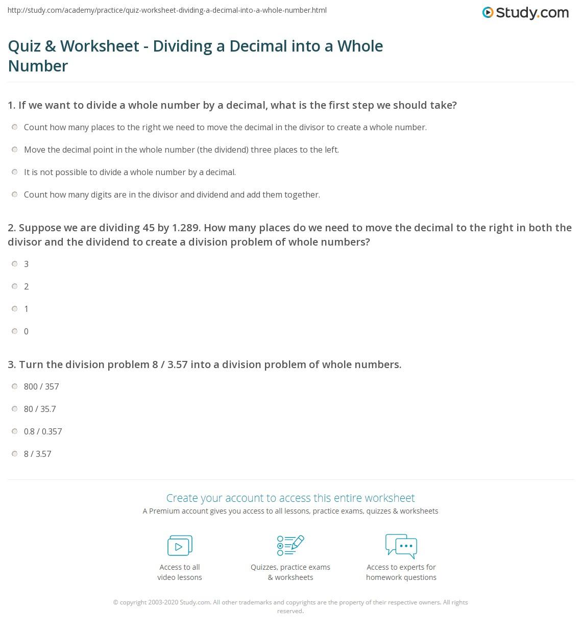 Division Decimal Numbers Worksheet