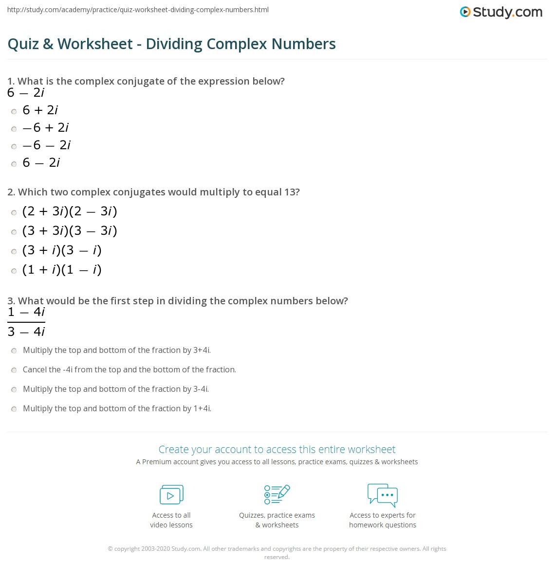 Complex Numbers Worksheet Doc