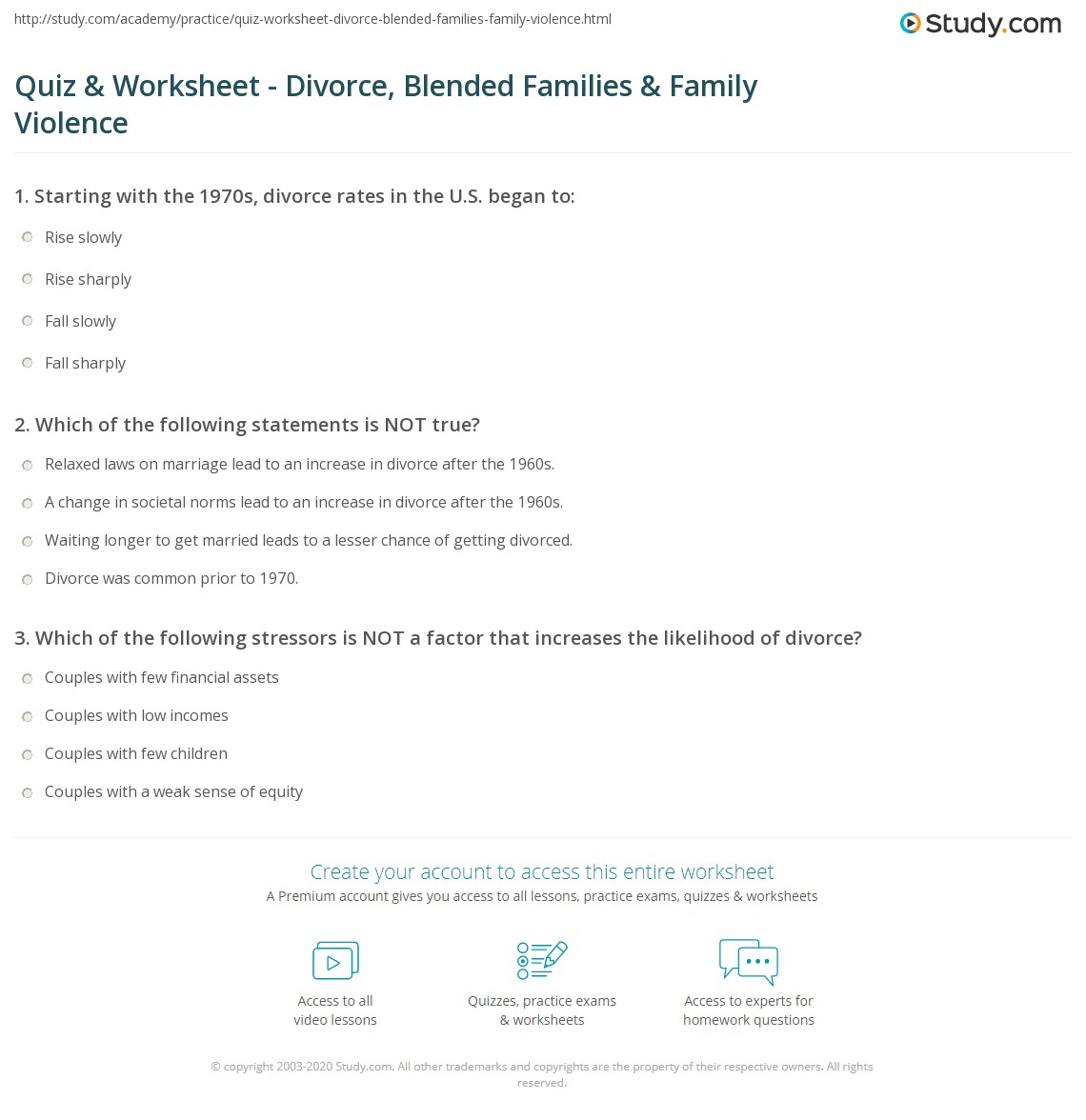 Marriage Divorce Assets Worksheet