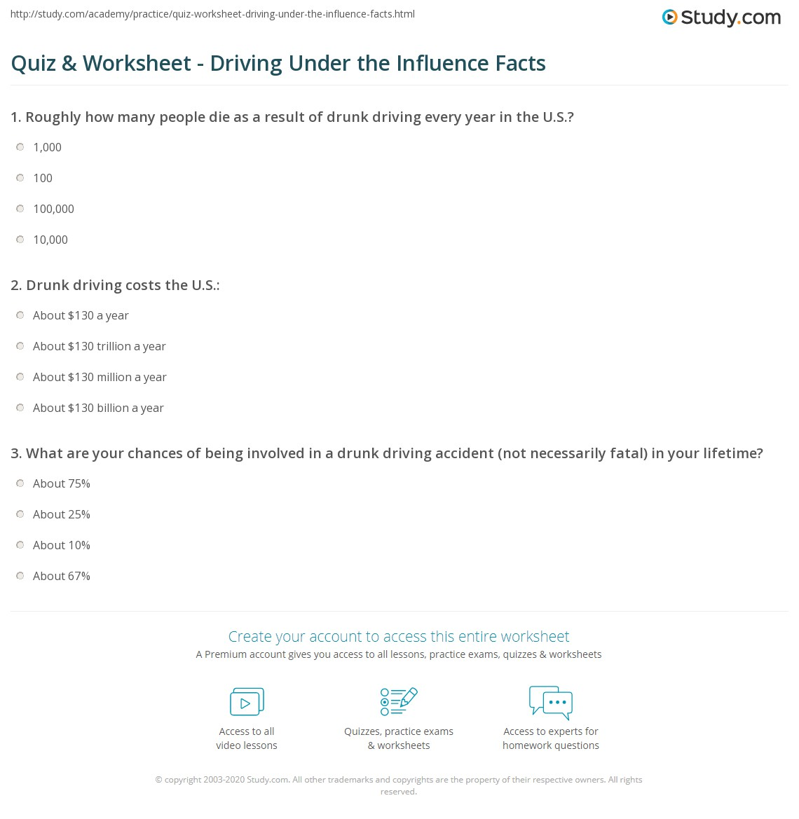Drinking And Driving Worksheet