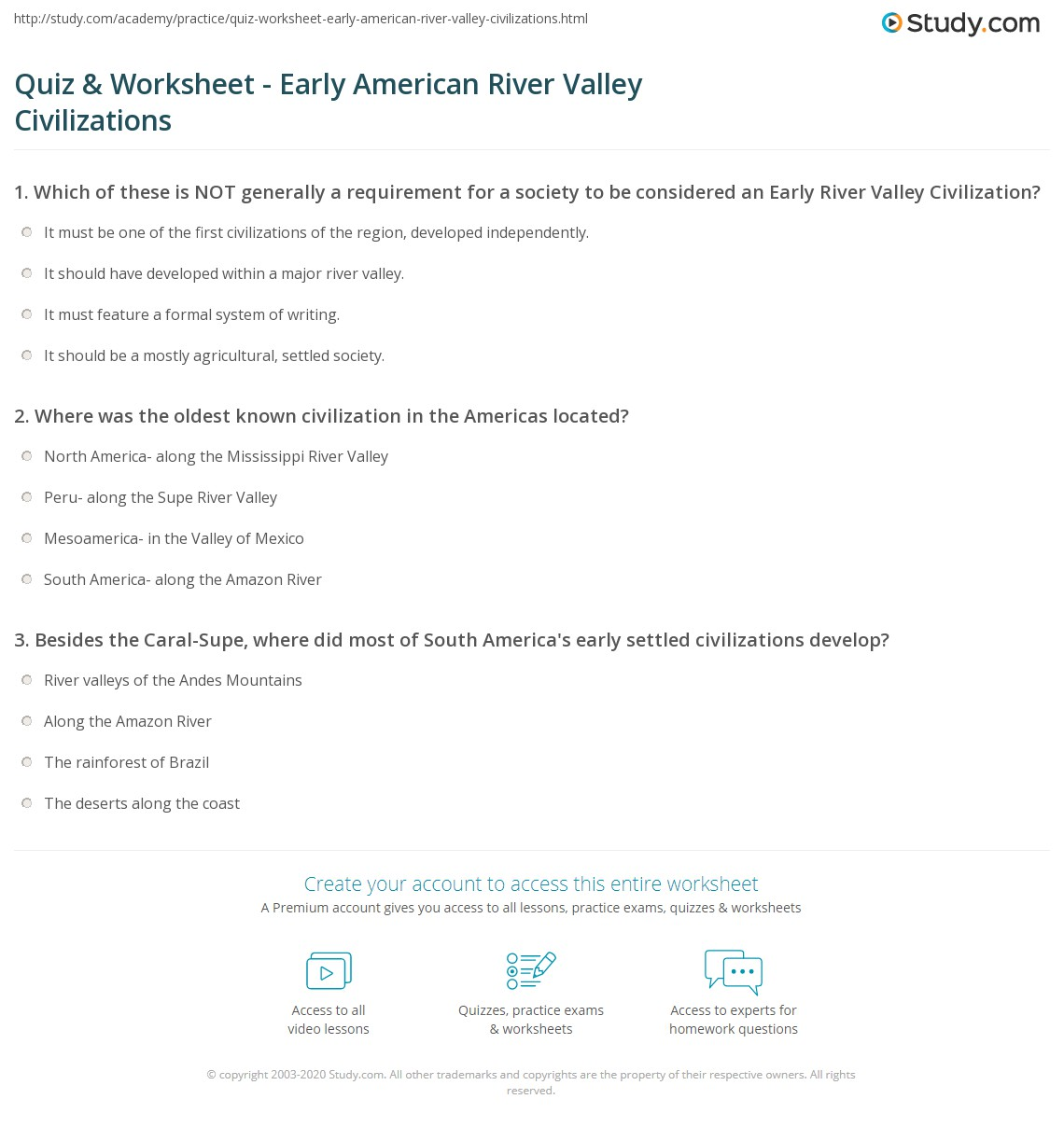 Early America Worksheet