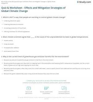 Quiz & Worksheet  Effects and Mitigation Strategies of Global Climate Change | Study