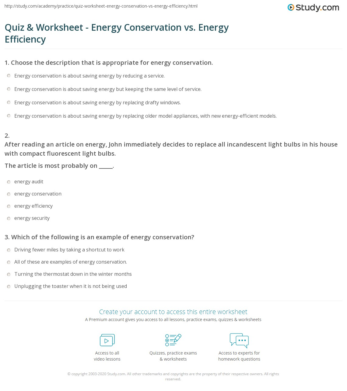Energy Efficiency Worksheet Answers