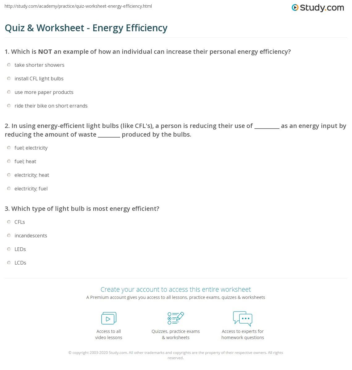 Worksheet On Energy Efficiency