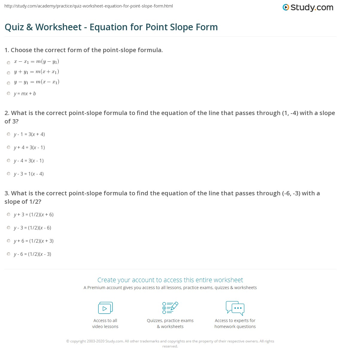 4 3 Writing Equations In Point Slope Form Worksheet