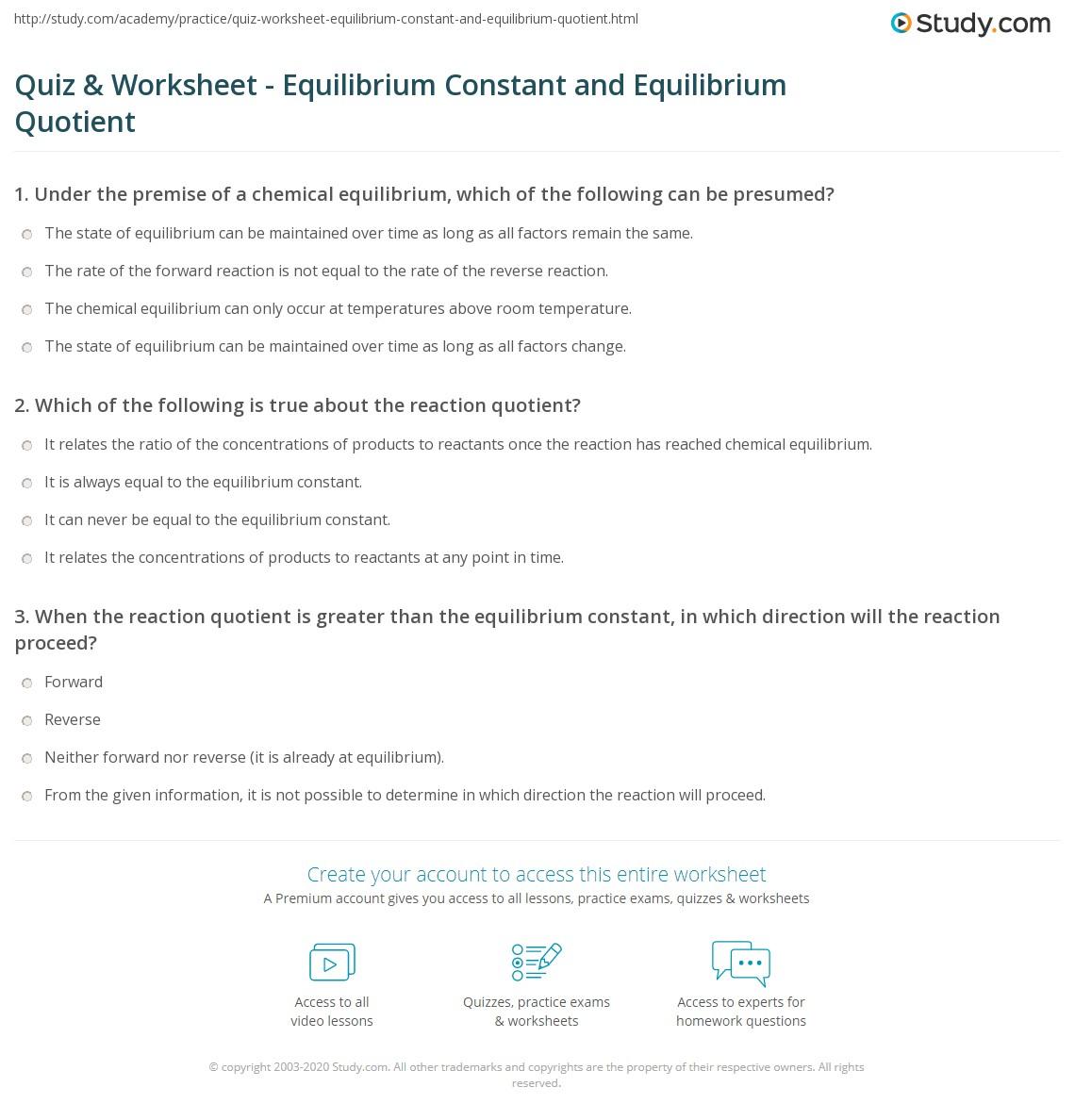 Worksheet Equilibrium Constant Worksheet Worksheet Fun
