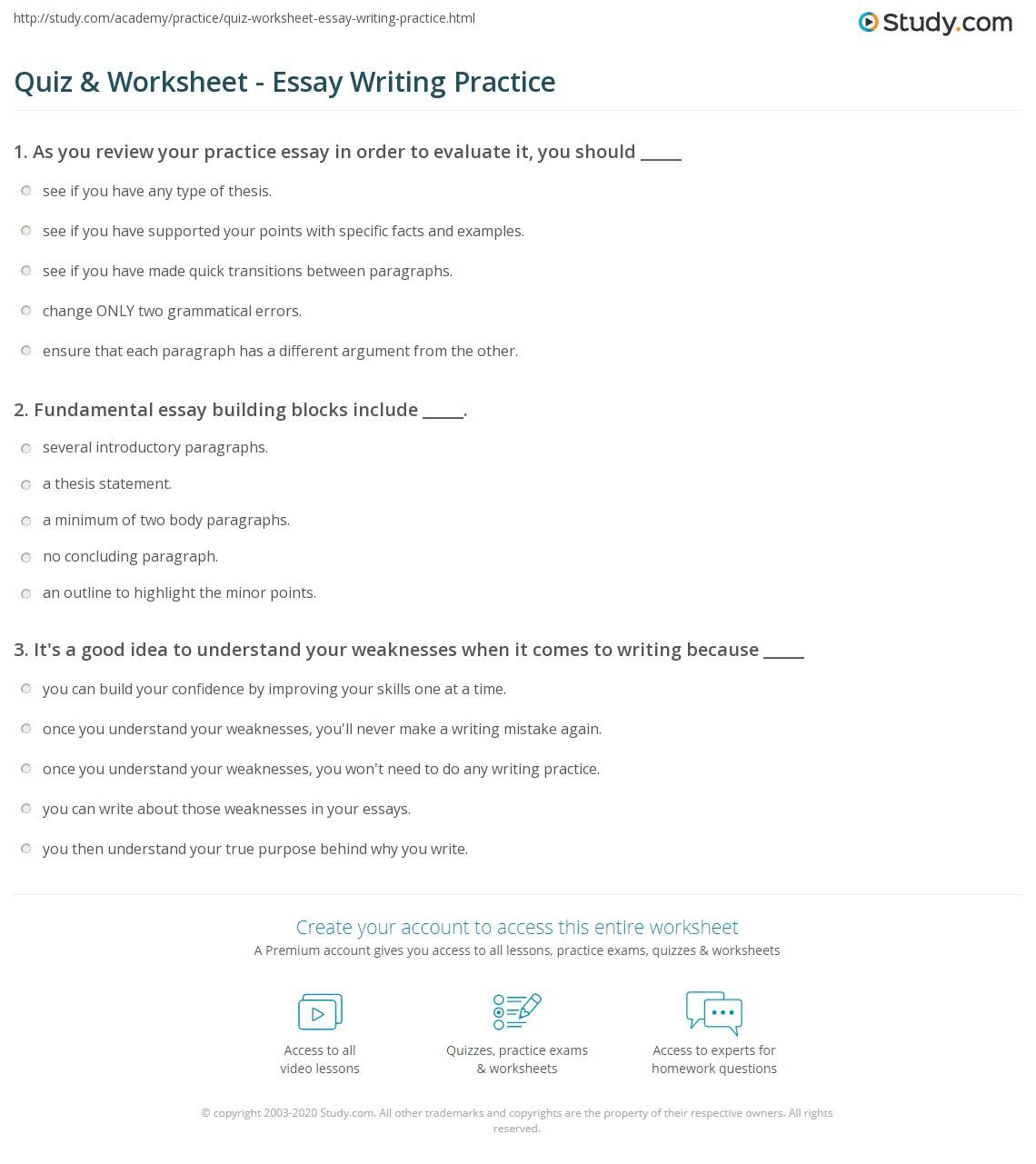 Thesis Outline Worksheet
